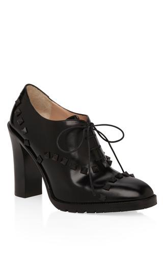 Medium valentino black rockstud lace up bootie