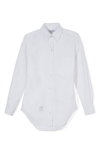 Medium thom browne white classic button dow cotton oxford shirt