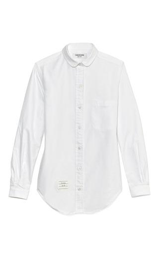 Medium thom browne white white oxford shirt with half round collar