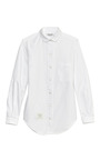 White Oxford Shirt With Half Round Collar by THOM BROWNE Now Available on Moda Operandi
