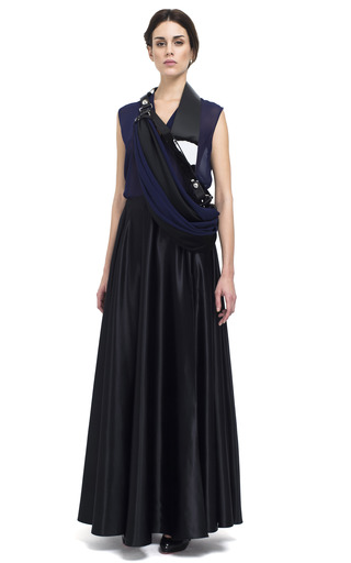 Medium bouchra jarrar blue silk satin ball skirt