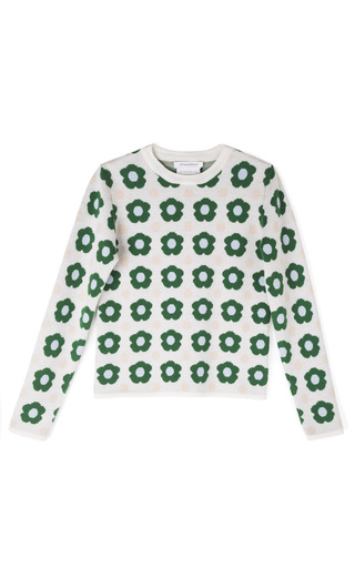 Medium j w anderson floral knit floral jacquard jumper in green