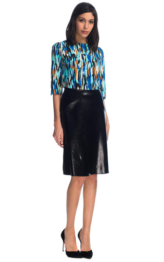 Clark Skirt In Foiled Stretch Crepe by JONATHAN SAUNDERS for Preorder on Moda Operandi