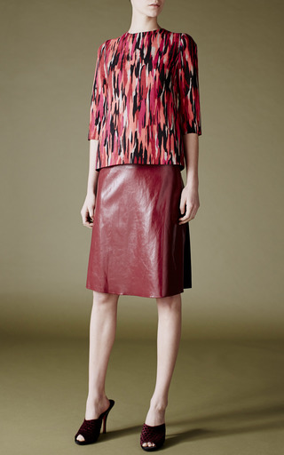Clark Foiled Stretch Crepe Skirt In Rusty Red by JONATHAN SAUNDERS for Preorder on Moda Operandi