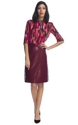 Medium jonathan saunders black clark foiled stretch crepe skirt in rusty red