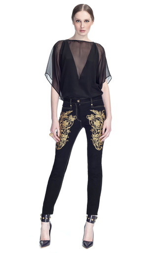 Sheer Inset Blouse by VERSACE for Preorder on Moda Operandi