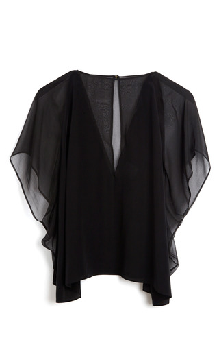 Medium versace black sheer inset blouse