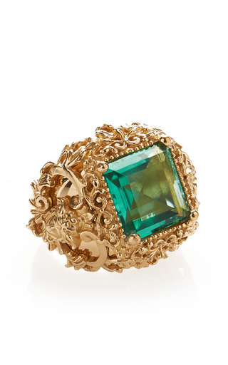 Green Crystal Ring by VERSACE for Preorder on Moda Operandi