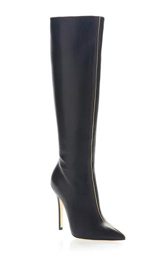 Medium versace black metallic piped boot