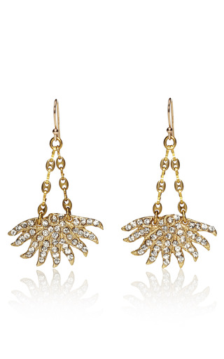 Medium lulu frost gold sunburst swarovski crystal drop earrings
