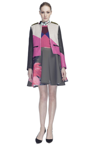 Waxed Tweed Patchwork Jacket by MSGM for Preorder on Moda Operandi