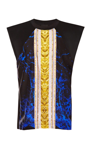 Blue And Black Easy One Muscle Tee by JOSH GOOT Now Available on Moda Operandi