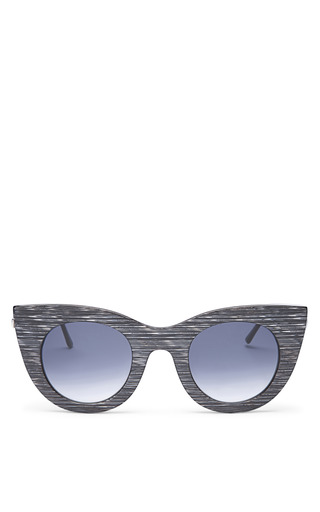 Divinity Sunglasses In Grey/White Stripe by THIERRY LASRY Now Available on Moda Operandi