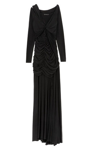 Medium donna karan black long sleeve one cold shoulder twist drape gown