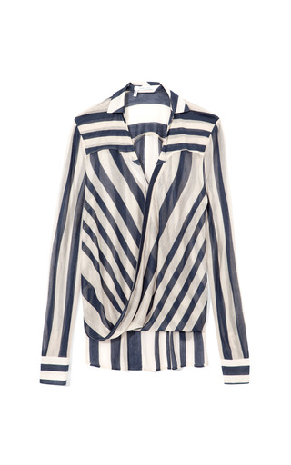 Medium derek lam 10 crosby stripe sheer stripe drape front blouse