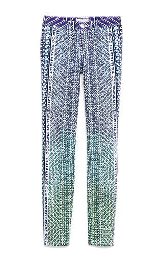 Medium mary katrantzou x current elliott blue the lorikeet blue ankle skinny jeans
