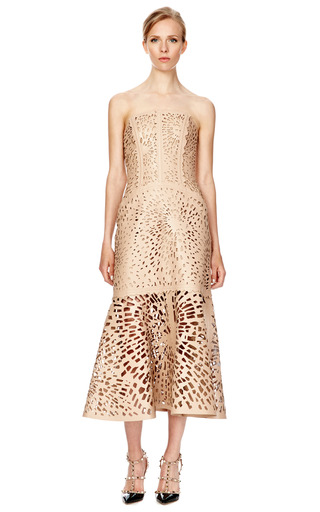 Laser Cut Leather Bustier Dress by GILES Now Available on Moda Operandi