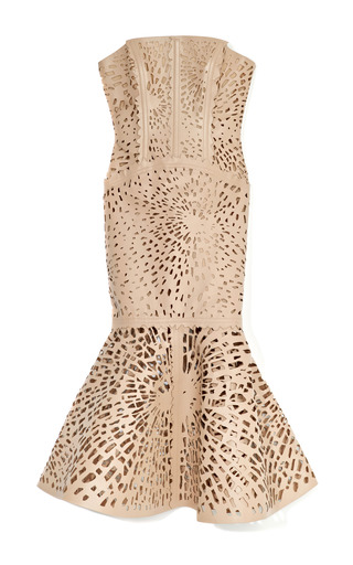 Medium giles nude laser cut leather bustier dress