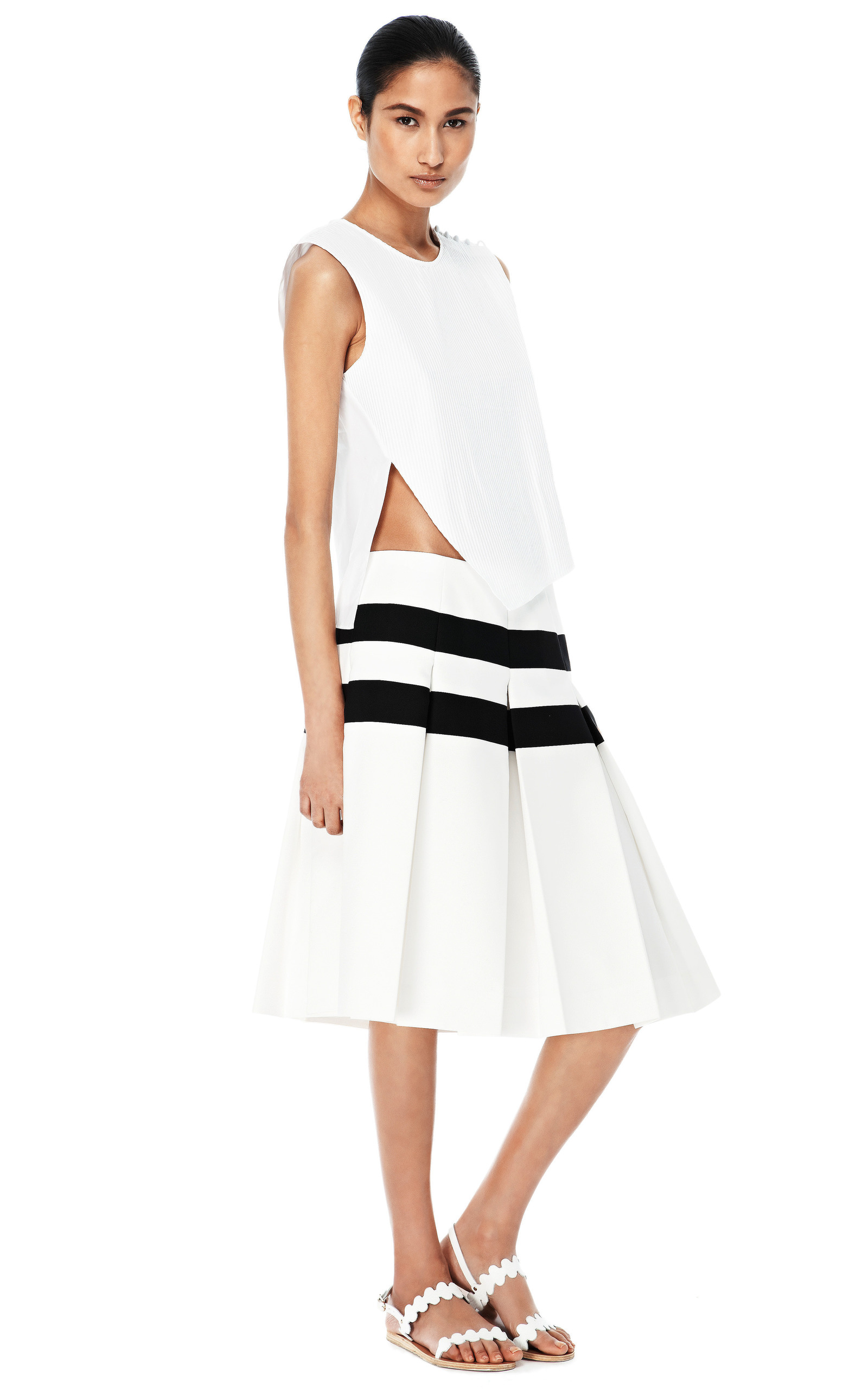 techno twill horizontal stripe pleated skirt by marc