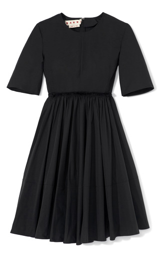 Medium marni black pleated front cotton dress
