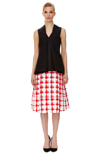 Cotton V Neck Peplum Top by MARNI Now Available on Moda Operandi