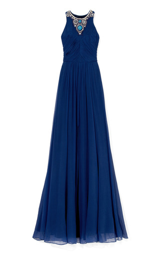 Medium matthew williamson blue ink blue embroidered gathered bodice gown