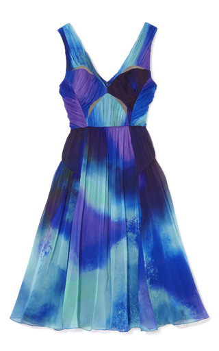 Medium matthew williamson blue powder print chiffon cutout dress