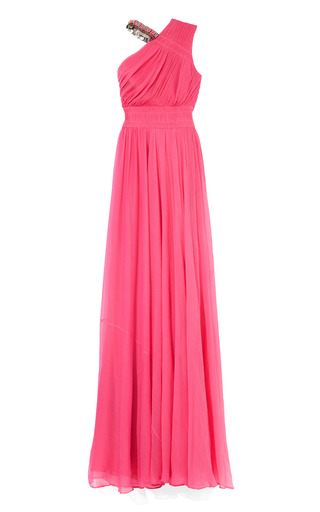 Medium matthew williamson pink embroidered asymmetric collared gown