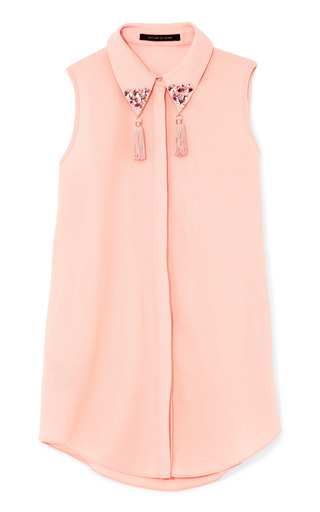 Medium mother of pearl pink umiko light wool crepe sleeveless shirt