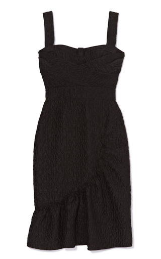Medium peter som black cloque crepe dress with ruffle bottom
