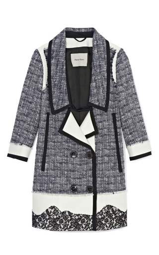 Medium peter som black cotton wool tweed coat