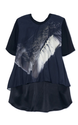 Medium prabal gurung black wing print a line t shirt blouse 2
