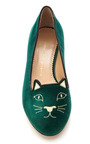 Green Kitty Flat by CHARLOTTE OLYMPIA for Preorder on Moda Operandi