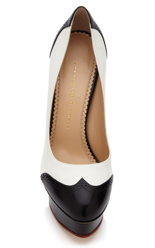 Black And White Spectator Dolly Pump by CHARLOTTE OLYMPIA for Preorder on Moda Operandi