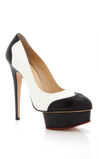 Medium charlotte olympia white black and white spectator dolly pump