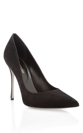 Medium sergio rossi black godiva suede pumps