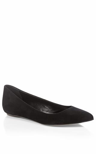 Medium sergio rossi black godiva pointed toe suede flats