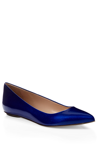 Medium sergio rossi blue godiva patent leather flats