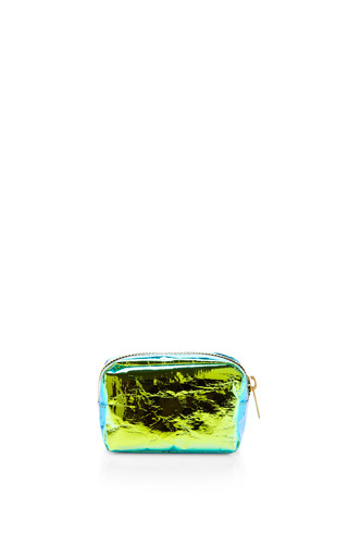 Medium zilla green glossy film cosmetic pouch