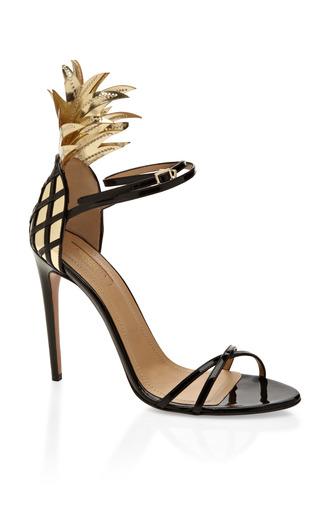 Medium aquazzura black gold and black pina colada sandal