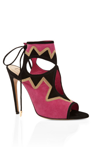 Medium aquazzura black pink and black sexy on the beach bootie 2