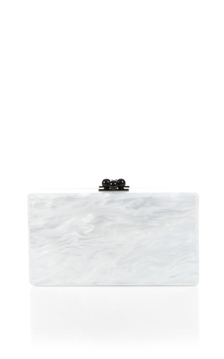 Pearlescent Black Acrylic And Silver Confetti Jean Clutch by EDIE PARKER Now Available on Moda Operandi