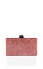 Flamingo Pearlescent Jean Clutch With Clear Ribbon Trim by EDIE PARKER Now Available on Moda Operandi