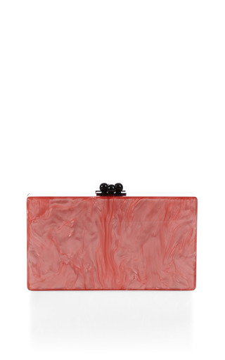 Medium edie parker pink flamingo pearlescent jean clutch with clear ribbon trim