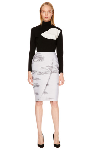 Clouds Patterned Pencil Skirt by VIKA GAZINSKAYA Now Available on Moda Operandi