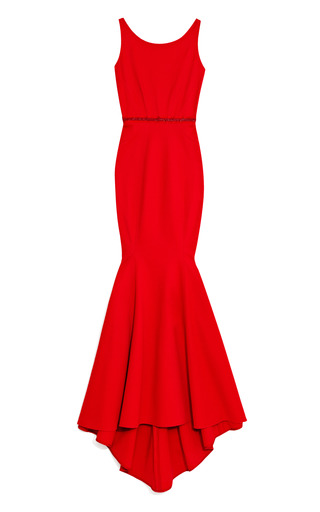 Medium zac posen red cherry bondage jersey gown with tonal belt