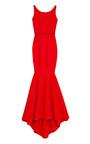 Cherry Bondage Jersey Gown With Tonal Belt by ZAC POSEN Now Available on Moda Operandi