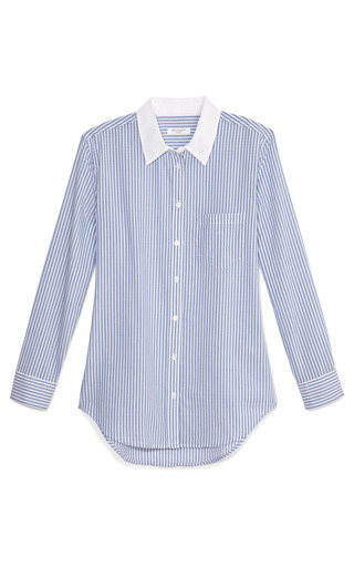 Vertical Pinstripe French Blue Reese Blouse With Contrast Collar by EQUIPMENT Now Available on Moda Operandi