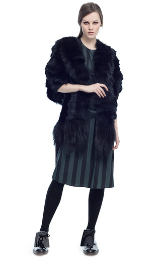 Medium marni black volpe chevron fox cape