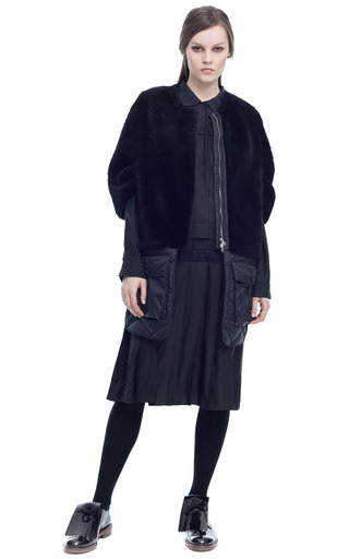 Medium marni black merinos velour lana alta shearling cape